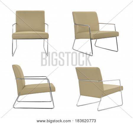 Beige leather Chair on a white background