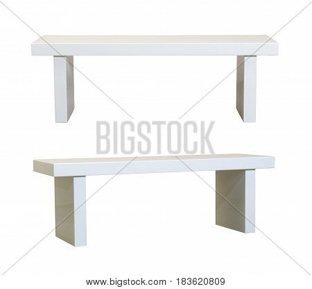 Simple White bench on a white background
