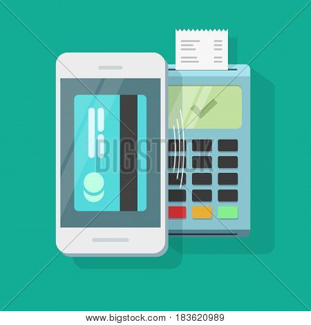 Mobile payment processing wireless technology vector illustration, air pay via mobile phone and nfc pos terminal with receipt, smartphone electronic payment communication, passed transaction
