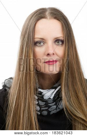 Beautiful Middle Age Woman Cancer Patient Before Shaving Hair