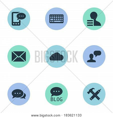Vector Illustration Set Of Simple User Icons. Elements E-Letter, Site, Repair And Other Synonyms Earnings, Site And Forum.
