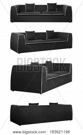 Black Sofa In All Angles