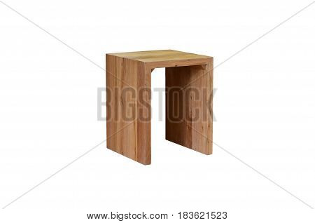 Wooden Stool bench on a white background