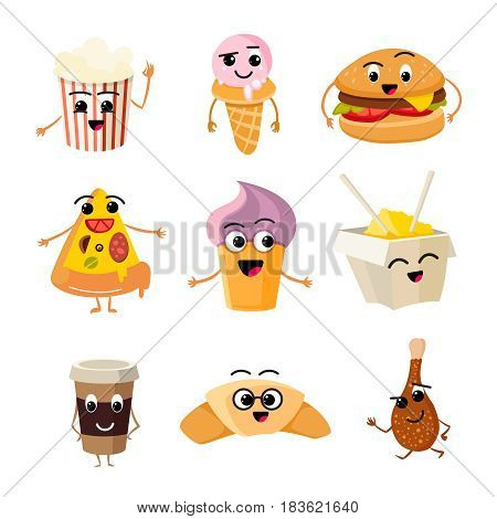 Funny cartoon fast food vector set. Character food burger lunch, illustration of character pizza and cheeseburger
