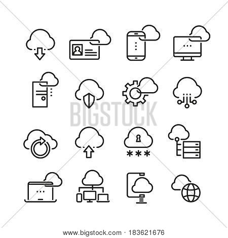 Computer cloud technology, data security, access perfection vector thin line icons. Cloud data on laptop, illustration of virtual data cloud