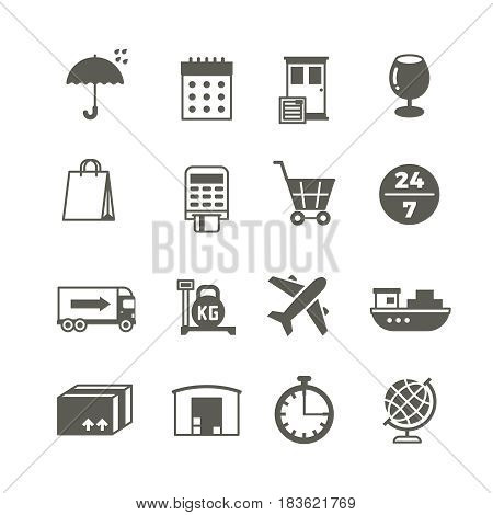 Global delivery, shipping truck and package vector icons. Delivery and distribution, storehouse and cargo lorry, delivery and logistic service illustration