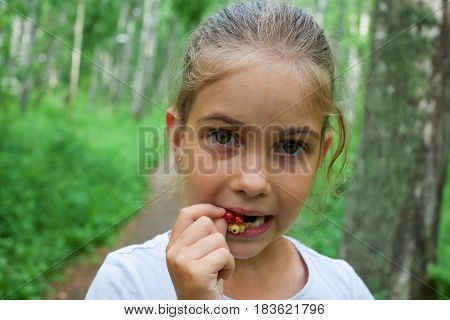 Little Girl Is Trying The Sour Currant Berries To Taste