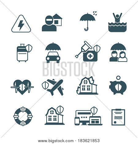 Insurance vector icons. Protection and safety symbols. Insurance against fire, floods, illustration of insurance health