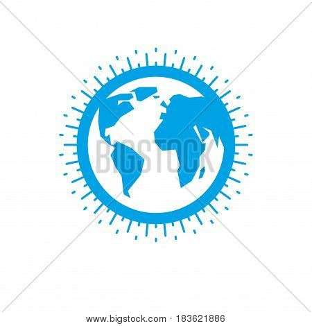 Blue Earth globe sign vector icon, globalization theme