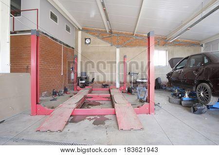 Stupino, Russia - April, 18, 2017: Car in a car body shop in Stupino, Russia