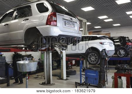 Moscow, Russia - April, 24, 2017: Equipment for oil changing in a car repair station in Moscow, Russia