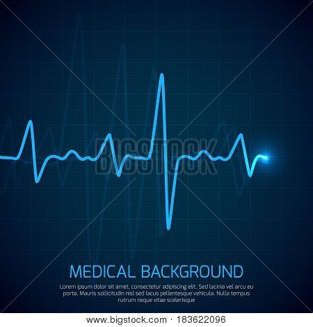 Healthcare vector medical background with heart cardiogram. Cardiology concept with pulse rate diagram. Digital cardiogram, illustration of diagnostic curve cardiogram