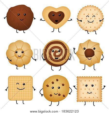 Cute cartoon funny cookies, bakery characters vector collection. Cartoon character happy cookie, illustration of sweet cookie with chocolate