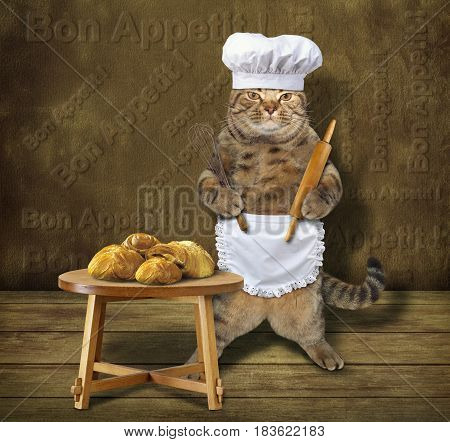 The cat cook made buns. These buns are on the table. He wears a chef hat and a white cook apron. He is holding a rolling pin and a egg beater.