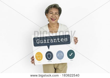 Woman Holding Guarantee Advertisement