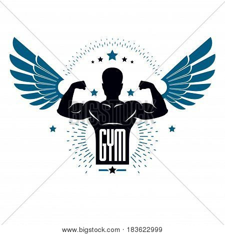 Fitness And Heavyweight Gym Sport Club Logotype Template, Retro Style Vector Emblem With Wings. With