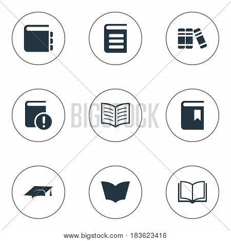 Vector Illustration Set Of Simple Knowledge Icons. Elements Important Reading, Journal, Book Page And Other Synonyms Important, Dictionary And Blank.