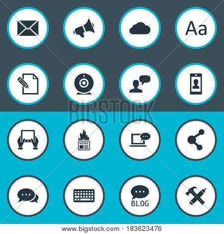 Vector Illustration Set Of Simple Blogging Icons. Elements Broadcast, Profile, Site And Other Synonyms Laptop, Pencil And Keypad.
