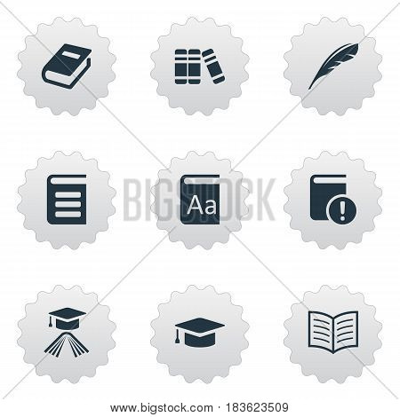 Vector Illustration Set Of Simple Education Icons. Elements Alphabet, Plume, Notebook And Other Synonyms Graduation, Book And Encyclopedia.