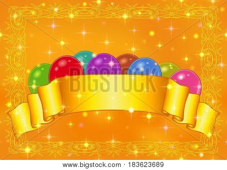 Holiday Background with Various Color Balloons, Golden Banner and Pattern Frame. Eps10, Contains Transparencies. Vector