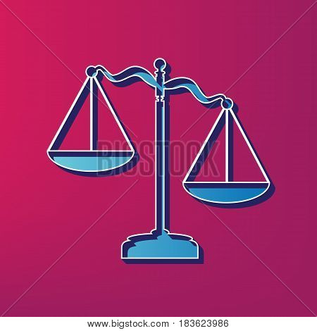 Scales of Justice sign. Vector. Blue 3d printed icon on magenta background.