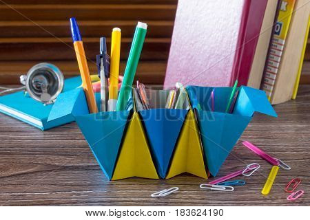 A Children's Office Organizer Made Of Paper Is Filled With Office Accessories. Handmade. The Project