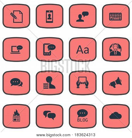 Vector Illustration Set Of Simple Blogging Icons. Elements Gazette, Profile, Notepad And Other Synonyms Negotiation, Forum And Message.