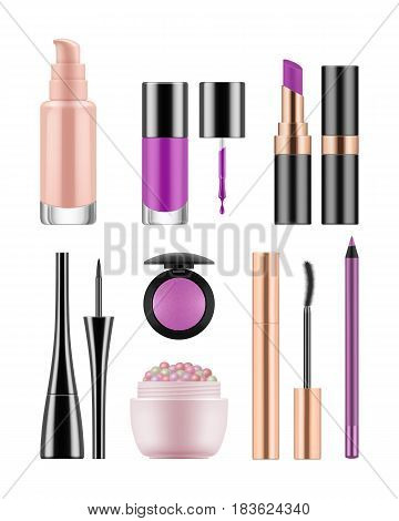 Vector set of packages for decorative cosmetics for nude makeup. Realistic blank template of containers for concealer, powder, violet lipstick and lipgloss, rouge, nail polish and mascara.