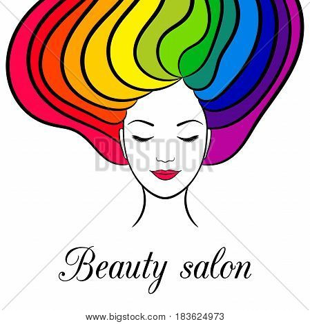 Beauty card with woman with closed eyes and rainbow hair