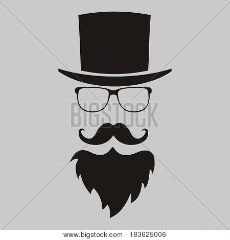 Vector hipster elements. hat glasses beard and mustache