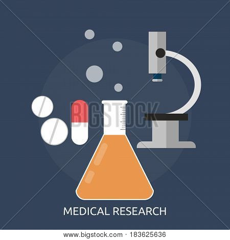 Medical Research Conceptual Design | Great flat illustration concept icon and use for science, research, technology, physics, chemistry and much more.