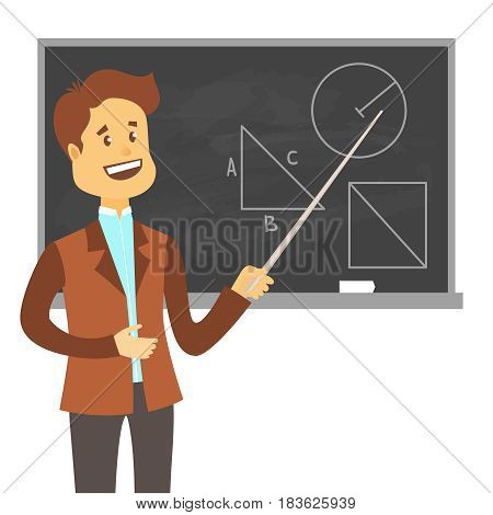 Teacher, professor standing in front of blank school blackboard .School male teacher near blackboard. Cartoon flat style vector illustration