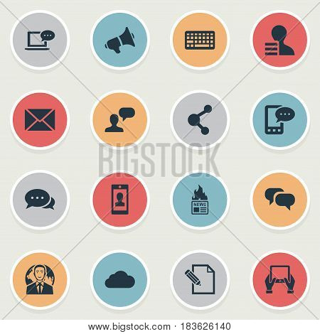 Vector Illustration Set Of Simple Blogging Icons. Elements Gain, Laptop, Keypad And Other Synonyms Considering, Network And Speaker.