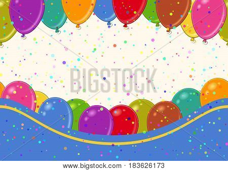 Horizontal Seamless Background with Various Colorful Balloons, Beautiful Tile Pattern for Your Design. Eps10, Contains Transparencies. Vector