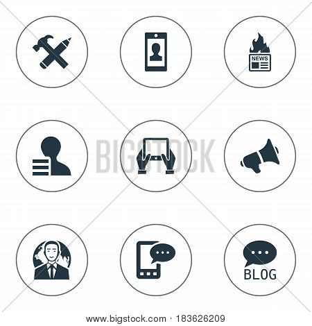 Vector Illustration Set Of Simple Blogging Icons. Elements Gazette, E-Letter, Gain And Other Synonyms Message, Notepad And Megaphone.