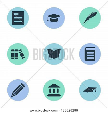 Vector Illustration Set Of Simple Books Icons. Elements Encyclopedia, Academic Cap, Bookshelf And Other Synonyms Cap, Page And Plume.