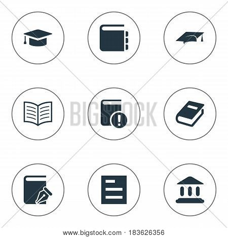 Vector Illustration Set Of Simple Education Icons. Elements Academic Cap, Library, Important Reading And Other Synonyms Academy, Book And Hat.