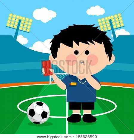 Soccer referee at a stadium blowing a whistle and showing a red card. Vector illustration