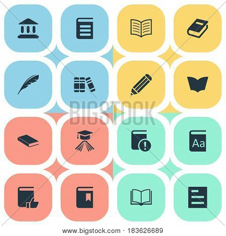 Vector Illustration Set Of Simple Reading Icons. Elements Book Page, Library, Plume And Other Synonyms Feather, Catalog And Blank.