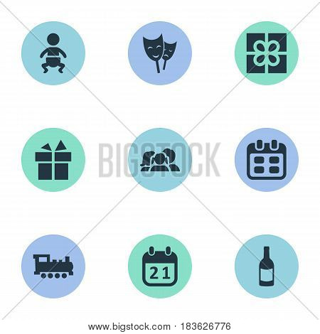 Vector Illustration Set Of Simple Birthday Icons. Elements Domestic, Ribbon, Train And Other Synonyms Fizz, People And Beverage.