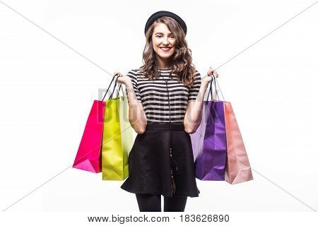 Young Happy Summer Shopping Woman With Shopping Bags Isolated On White Background
