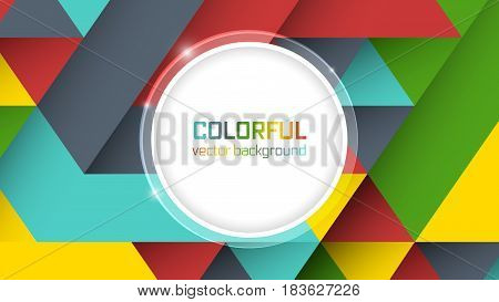Abstract Vector Background With Symmetrical Colorful Triangles And Circle For The Main Text.