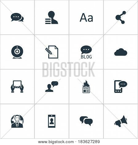 Vector Illustration Set Of Simple Blogging Icons. Elements Loudspeaker, Profile, Gain And Other Synonyms Gossip, Hot And Profile.