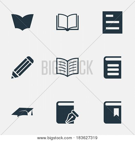 Vector Illustration Set Of Simple Education Icons. Elements Blank Notebook, Pen, Tasklist And Other Synonyms List, Textbook And Hat.