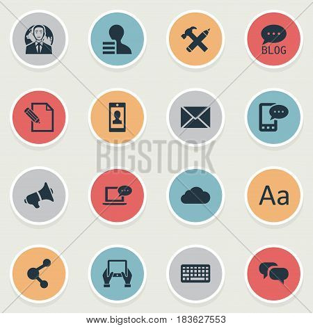 Vector Illustration Set Of Simple User Icons. Elements Cedilla, Gain, Keypad And Other Synonyms Cedilla, Message And Sky.