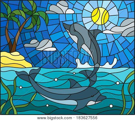 Illustration in stained glass style with a pair of dolphins on the background of water cloud sky sun and Islands with palm trees