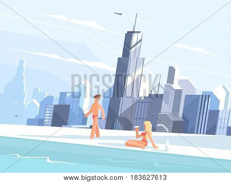 Swimming pool on roof of skyscraper. People relaxing by basin. Vector illustration