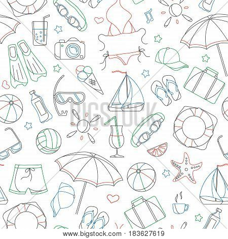 Seamless pattern on the theme of summer holidays in hot countries simple contour icons are drawn with colored markers on white background