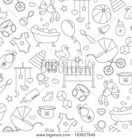 Seamless pattern on the theme of childhood and newborn babies baby accessories and toys simple contour icons black contour on white background