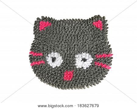 Cat Shape Colorful of cleaning feet doormat or carpet texture isolate on white background
